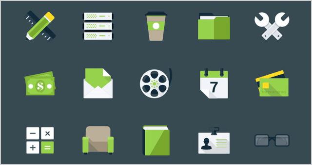набор зеленых flat иконок