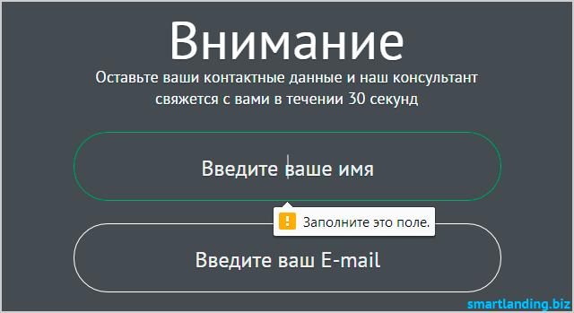 Атрибут type email в input
