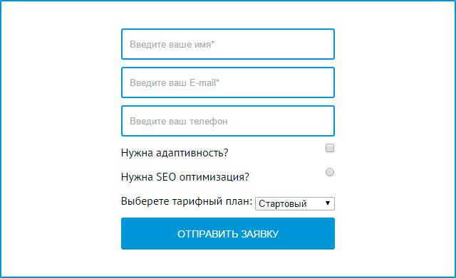 Контактная форма с чекбоксами