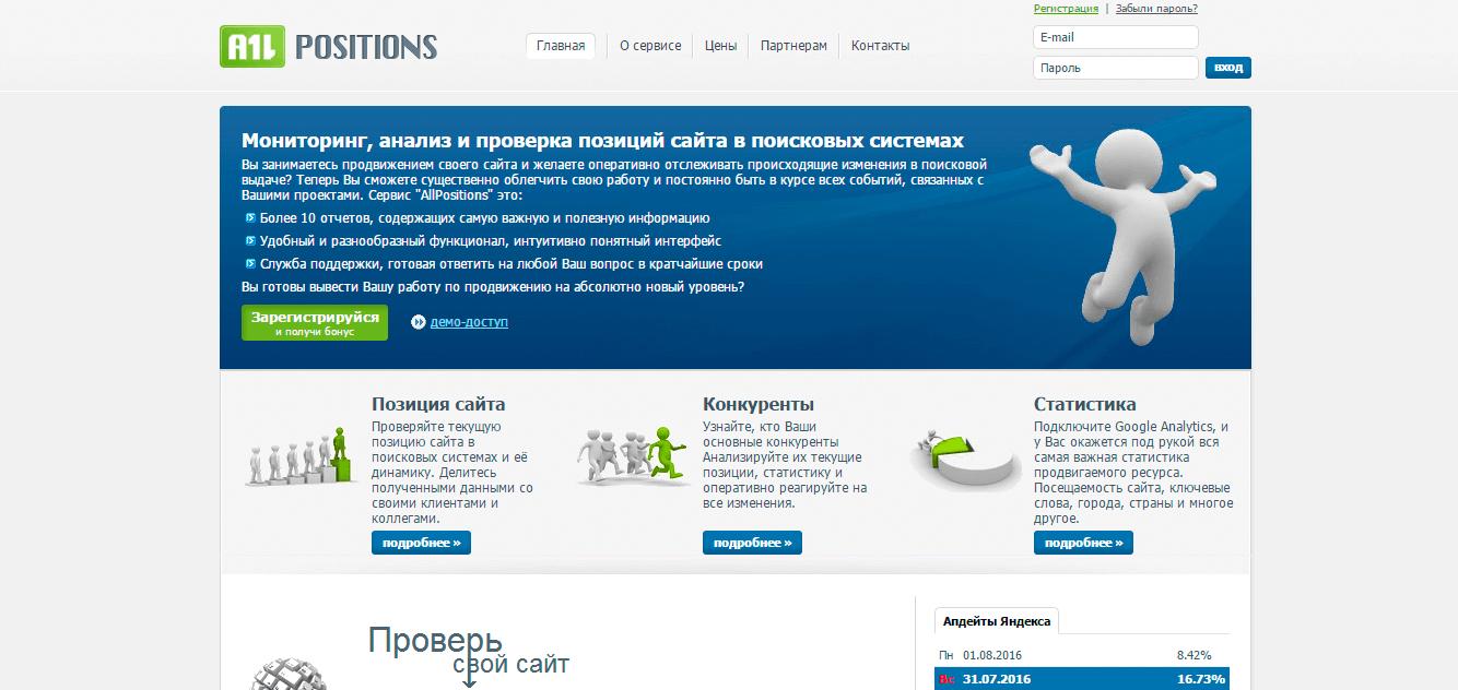 Главная страница сервиса Allposition