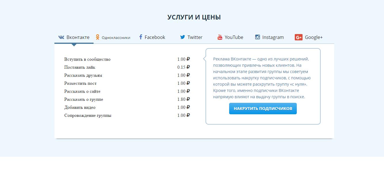 Тарифы сервиса Vktarget