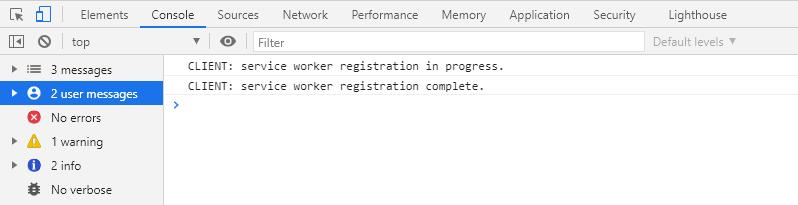 Успешная регистрация сервис воркера